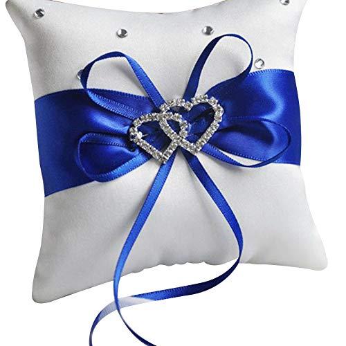 Brüssel s08 Hochzeitsringkissen mit Strass, Doppelherz-Anhänger, Seidenschleife, 10 x 10 cm, romantisches Ringkissen, Dekor, Blau