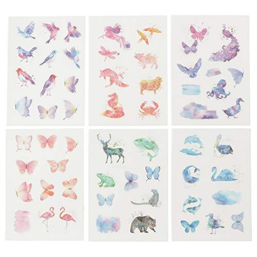 moin moin シール シート 和紙シリーズ | 水彩 美麗 アニマル 動物 蝶 ちょうちょ 鳥 フラミンゴ 海の生き...