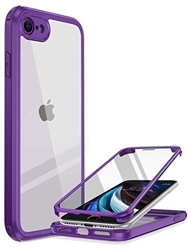 Miracase 360 Grad Hülle kompatibel mit iPhone SE 2020 / iPhone 8, Ganzkörper Schutzhülle mit eingebauter Glas Bildschirmschutzfolie, Stoßfeste Fullbody Handyhülle, Lila