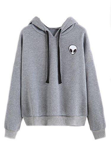 YouPue Damen Alien Druck Casual Cropped Pullover Crew Neck Sweatshirt