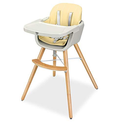 GOPLUS Chaise Haute pour Bébé Evolutive, Multi-Fonction 2 en 1 Hauteur 51/65/83CM, Ceinture de Sécurité à 5 Points, Plateau Réglable, Coussin Confortable (Blanc)