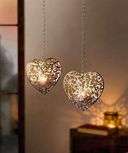 Dekoleidenschaft Teelichthänger Ranken in Herzform aus Metall, Silber/Gold, Teelichthalter mit Kette