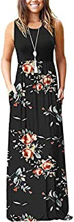 AUSELILY Women's Summer Sleeveless Loose Plain Maxi Dress Casual Long Dress with Pockets