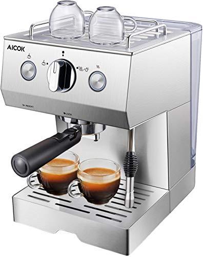 AICOK Espressomaschine | 1140 Watt kaffeemaschine | 15 Bar Cappuccino und Latte | Professionelle Milchaufschäumdüse | 1.5 L Großer Wassertank