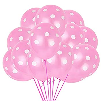 100pcs Pink and White Polka Dots Balloons 12inch large Polka Dot Latex Party Balloons for Wedding Birthday Party Festival Decoration Supplies