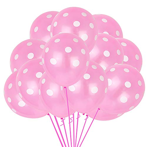 100pcs Pink Polka Dots Balloons 12inch Large Polka Dot Latex Party Balloons for Wedding Birthday Party Festival Decoration Supplies