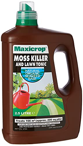 Maxicrop 86600259 Moss Killer & Lawn Tonic, Natural Seaweed Extract Plus Moss Killer & Lawn Tonic, 2.5L, Concentrate