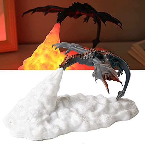 JAKROO Luz De Noche De Dragón Escupe Fuego 3D, decoración de lámparas de dragón de Fuego LED de volcán Impresas en 3D, Regalos Recargables USB para niños