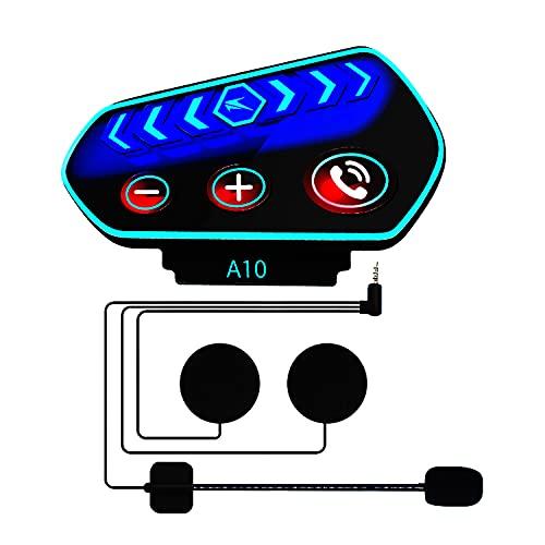 Beyi - Auriculares Bluetooth para moto, manos libres para auriculares, Bluetooth 5.0, control de llamadas, escuchar música, cortavientos y antiinterferencia, botón grande con luz