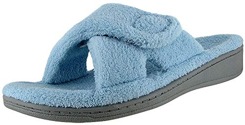 Vionic Women's Indulge Relax Slipper - Ladies Comfortable Cozy Adjustable House Slippers with Concealed Orthotic Arch Support Blue 10 Medium US