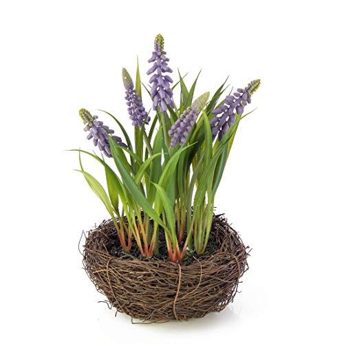 Künstliche Traubenhyazinthe im Reisig Nest, lila, 20 cm, Ø 18 cm - Textilblumen / Kunstblumen - artplants