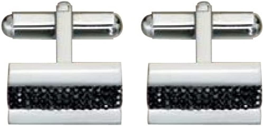 Crystal Men's Cuff Links in Stainless Steel