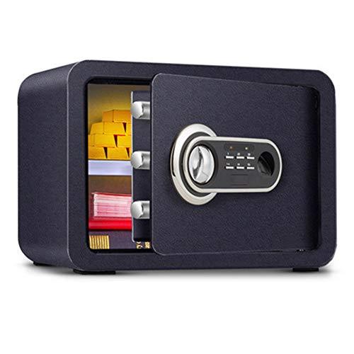 ASWT-TRook, vingerafdruk wachtwoord, mini elektronische blokkering, safe, 2-laags, voor thuis, klein wachtwoord, anti-diefstalbeveiliging, veilig voor op kantoor, met 3 sloten van de deur (met reservesleutel) zwart