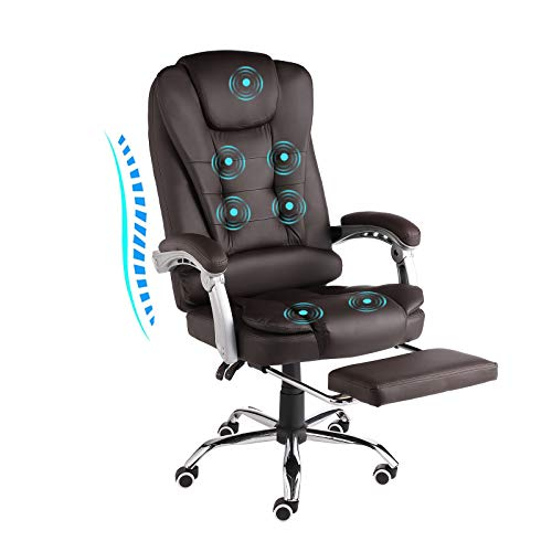 URRED Executive Office Chair with Foot Rest - Comfortable Reclining PU Leather Ergonomic Massage Office Chair Foot Rest with Wheels and Arms Adjustable backrest (PU-Brown)
