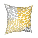 TURESI Throw Pillows Must_ard Yellow Gray Abstract Floral Pillow Covers Cushion Cover Modern Pillowcases Home Decoration Flowers Square Pillows Protector 18 X 18 Inch