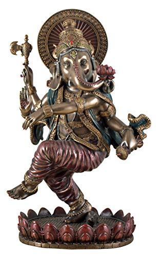 Veronese Figur Indischer Elefantengott Ganesha Tanzt Statue Skulptur bronziert