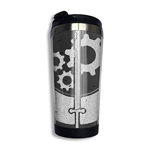 Fallout Brotherhood of Steel Sigil Unisex Taza de viaje de café con tapa Taza de vidrio aislada al vacío de acero inoxidable 13.5 oz