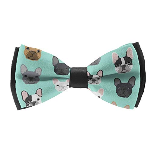 Men and Boys Satin Bow Tie French Bulldog Sweet Dog Puppy Puppies Dog, Durable Solid Pre-Tied for Tuxedo Suit College Office Graduation, Elegant Wedding Party Gift Bow Ties