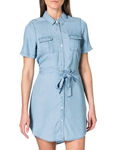 Vero Moda Vmsilja SS Short Shirt Dress GA Noos Robe, Bleu Jeans Clair, XS Femme