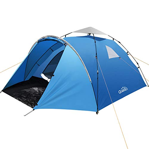 Qomolo Camping Zelte für 3-4 Personen, zelte Pop Up Wasserdicht Winddicht Sonnenschutz Schnell Set-up Wurfzelte für Camping Wandern Outdoor Aktivitäten