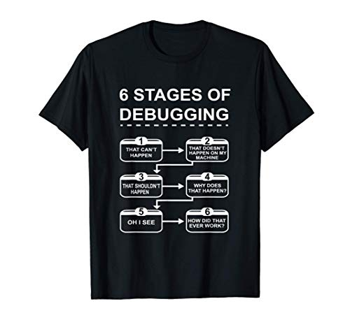 6 Stages of Debugging design Programming Computer Science T-Shirt