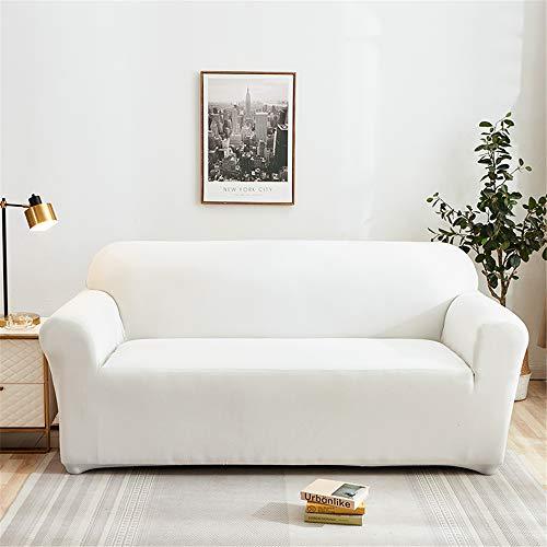 Surwin Sofabezug Sofa Überwürfe 1 2 3 4 Sitzer, Muster Elastische Universal Sofahusse Sofa Abdeckung Stretch Schonbezug Couchbezug für Armlehnen Sofa (Weiß,2 Sitzer (145-185cm))