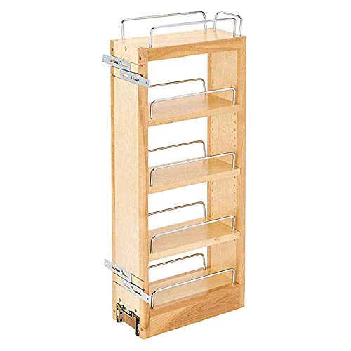 Rev-A-Shelf 448-WC-5C 5-Inch Base Cabinet Pull Out Storage Organizer with 3 Adjustable Wood Shelves and Chrome Rails, Maple