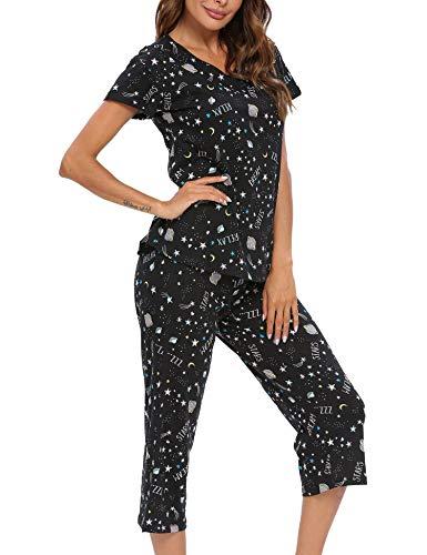ENJOYNIGHT Women's Sleepwear Tops with Capri Pants Pajama Sets (3X-Large, Star)