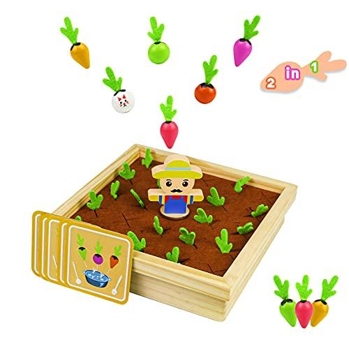 Juegos Montessori para Niños Juego de Memoria Juegos de Mesa Juguetes de Madera 2 in 1 Zanahoria Juguete Mesa Actividades Bebe Juegos de Aprendizaje Regalos de niños 3 años