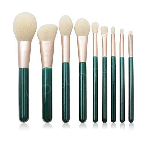 Kit De Pinceaux Maquillage 9 Pinceau De Maquillage Manche En Bois Vert D'Encre Set De Cheveux Blancs Brosse Lâche Ponçage Bouche Tube Beauté Maquillage