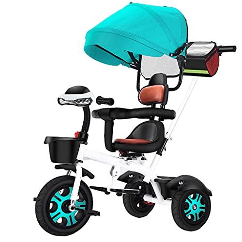 ROEWP Cochecito de bebé triciclo para niños, 1 – 6 años de bicicleta de bebé grande, educación temprana multifuncional, música intermitente, fácil de instalar, cochecito ligero y plegable (color azul)