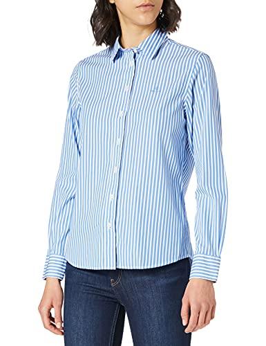GANT Damen The Broadcloth Striped Shirt Bluse, Pacific Blue, 38