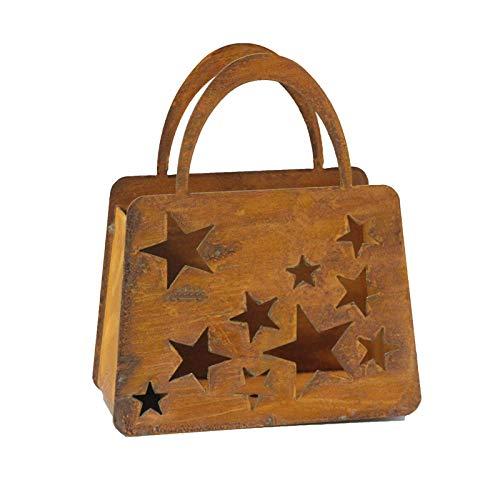 Bornhöft Tasche Sterne zum Bepflanzen Windlicht Beetdeko Metall Rost Gartendeko 23cm x 20cm Edelrost rostige Deko für den Garten
