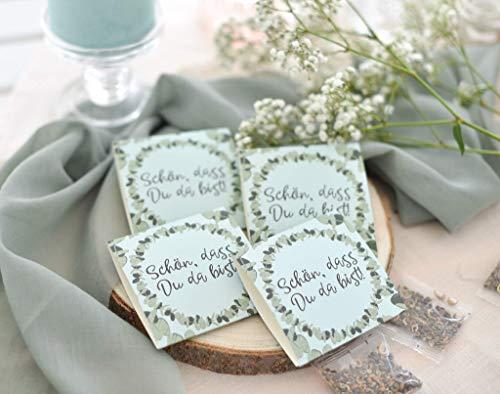 Verschiedene SETS Gastgeschenk zur Hochzeit, Konfirmation, Kommunion, Taufe, Geburtstag inkl. Blumensamen - Tischkärtchen, Platzhalter, Give Away Flora & Eukalyptus - Schön, dass Du da bist!