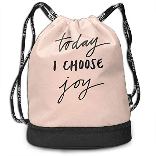 SDFGSE Funny Dance Gift Unisex Drawstring Fashion Beam Backpack Today I Choose Joy Print Backpack Travel Gym Tote Cosmetic Bag