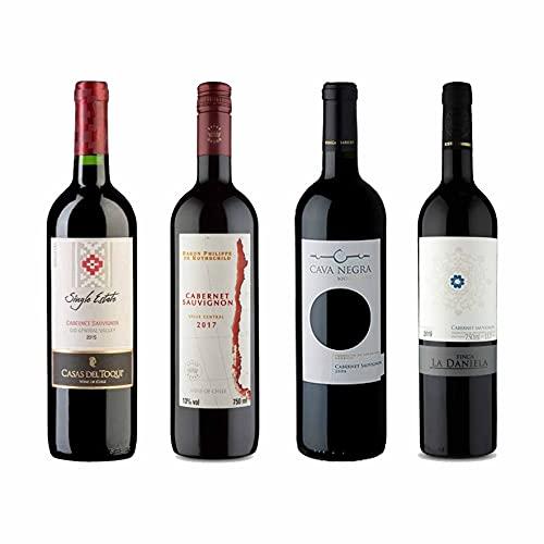 Kit 4x Vinho Tinto Baron Philippe de Rothschild/La Daniela/Cava Negra/Casas del Toqui Cabernet Sauvignon