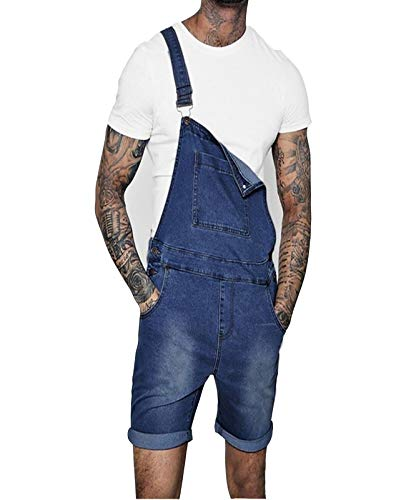 Babero De Mezclilla para Hombres Pantalones Cortos De Pantalones Vaqueros Microelasticidad Jumpsuit Verano Dunniares Mampers,Dark Blue,XL
