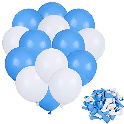 Faburo 80PCS Palloncini Blu e Bianchi per Party, Palloncini Latex per Matrimoni, Decorazione, Compleanno, Festa di Compleanno, Anniversario e Eventi