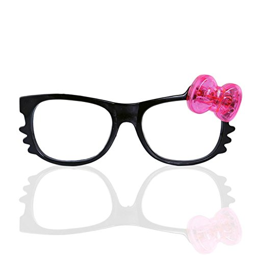 12 Pairs of LED Flashing Hello Kitty Bow Light Up Party Glasses Shades (Black Frame)