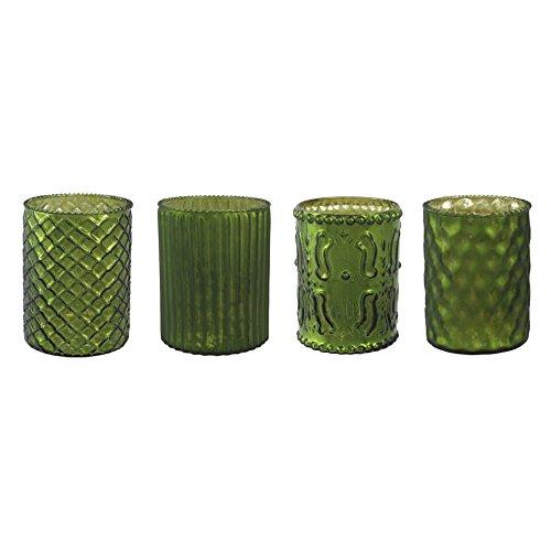Unbekannt Glas- TEELICHT mit DEKOR ca 10 cm. 4 STÜCK. Teelichtglas teilw. verspiegelt. GRÜN -50