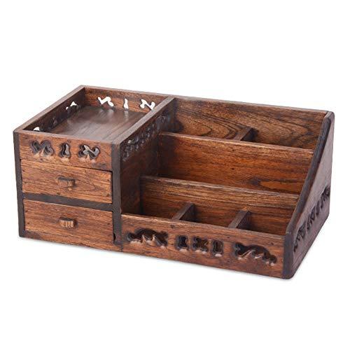 BJL Kosmetische Aufbewahrungsbox - Teakholz, handgeschnitzte alte Farbschublade Kosmetikbox, Schlafzimmer Schlafsaal Desktop staubdicht einfachen Haushalt Schminktisch Kosmetikständer - Größe: 33cmX20
