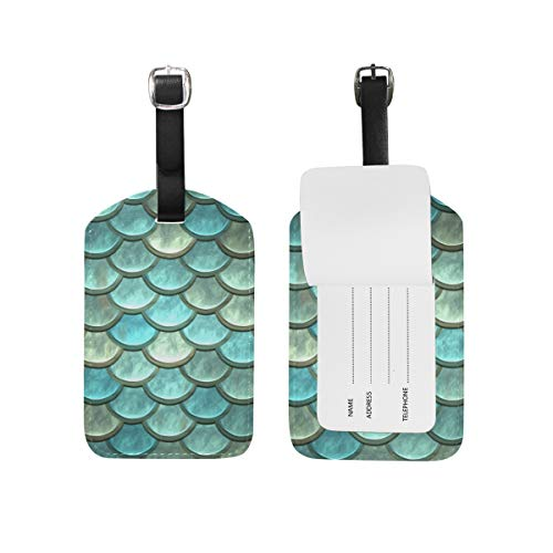 Etiquetas de identificación para equipaje con diseño de balanza de pescado, etiquetas de piel para maleta de equipaje 1 pieza