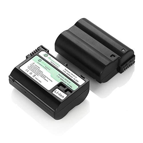 Powerextra 2x Batteria EN-EL15 Batterie da 2200mAh per Nikon 1 V1 810A D600 D610 D750 D800 D800E D810 D810A D810E D7000 D7100 D7200