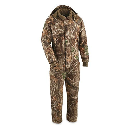 Guide Gear Men's Dry Waterproof Hunting Coveralls with Hood, Insulated Camo Hunt Overalls, Realtree Edge, Medium