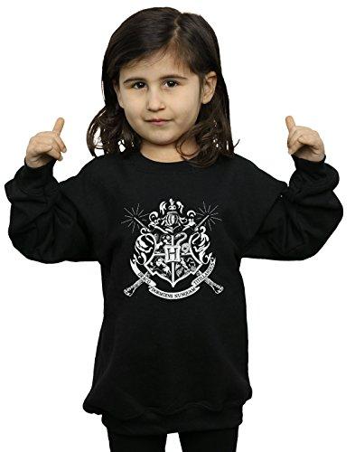 HARRY POTTER Fille Hogwarts Badge Wands Sweat-Shirt 9-11 Years Noir