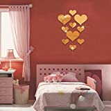 Youmymine 3D Wall Sticker Love Heart Acrylic Mirror Wall Panel Removable Home Living Room Sofa Background Decoration 10pcs (Gold)