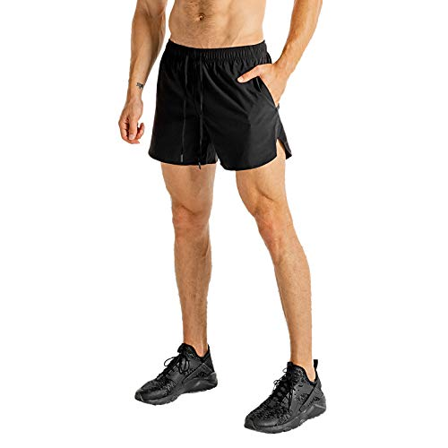 GANSANRO Men's Athletic Shorts Quick Dry Running Shorts for Men 5inch Workout Shorts Men, Small Black