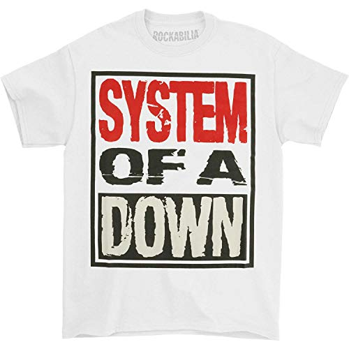 System of A Down 'Triple Stack Box' (White) T-Shirt (Large)