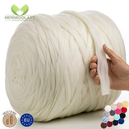 MeriWoolArt 100% Merinowolle zum Stricken & Häkeln mit 2 cm dickem Garn | Dicke Merino Wolle für XXL Schal, Decke & Kissen (Weiß, 100g)