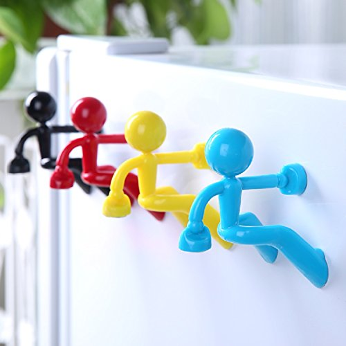 GENERY Various HK 4PCS Magnets Key Holder Wall Climbing Key Hook Fridge Refrigerator Magnets Wall Magnet Magnetic Home Storage Key Holders Man Hook Magnet for Any Metal Surface-XRYS01